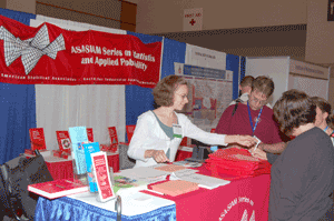 Series Acquisitions Editor Sara J. Murphy staffs the SIAM booth during this year's JSM in Washington, DC.