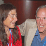 Karen Kafadar and Dick Deveaux enjoy the Long-Time Member Reception.