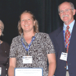 From left: Alicia Carriquiry, Joanne Wendelberger, and W. Robert  Stephenson represent Iowa State University and Los Alamos National Laboratory, winners of the SPAIG award.