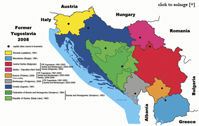 Countries and subregions resulting from the split of former Yugoslavia, as of 2008