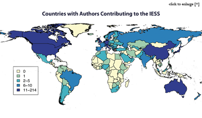 Countries with Authors Contributing to the International Encyclopedia of Statistical Sciences