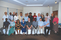 Delegates of the International Conference for Health Statistics in the Pacific Islands gather during a break between sessions.