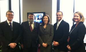From left: Peter Craigmile, Peter Guttorp, Sen. Maria Cantwell, Christopher Gambino, and Kasey White