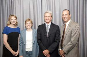 Recent Jeanne E. Griffith awardees—Deborah Griffin, Jenise Swall, and Kevin Cecco—with this year's awardee, William Mockovak (third from left)