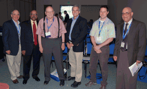 From left: Barry Nussbaum, SPAIG chair; Sastry Pantula, director of the National Science Foundation's Division of Mathematical Sciences and ASA past president; Tony Lachenbruch, ASA past president; Robert M. Groves, U.S. Census Bureau director; Chris Holloman, a 2011 SPAIG award winner; and Morteza Marzjarani, session organizer/chair. Missing from the picture is Marie Davidian, 2012 ASA president-elect.