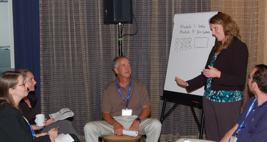 From left: Rebecca Nichols, Rebecca Brafman, Bob Starbuck, and Ofer Harel listen to Jeanine Buchanich during the Train the Trainer workshop at the 2012 Joint Statistical Meetings in San Diego, California.