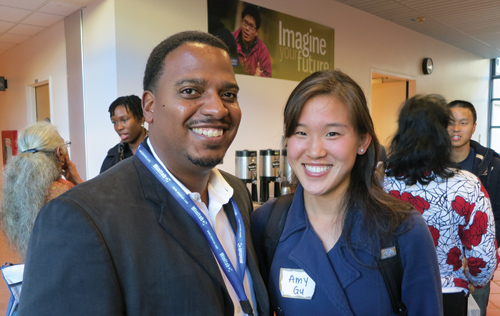 Brian Millen and Amy Gu discuss graduate programs during a break between sessions at StatFest 2012.