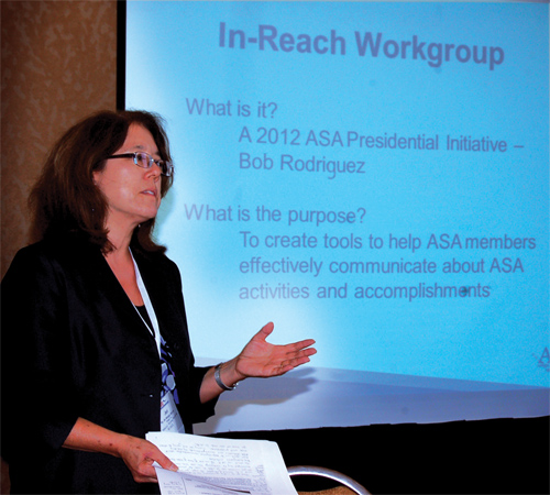 Jeri Mulrow explains in-reach communication at the Council of Chapters workshop during JSM 2012