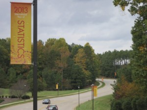 SAS Institute in Cary, North Carolina, with banners proclaiming 2013 as the International Year of Statistics