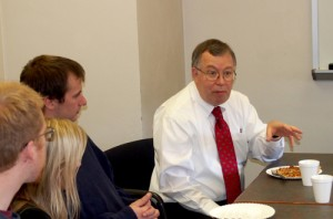 Bob Rodriguez speaks with master's degree statistics students during his November 2012 visit to Miami University.