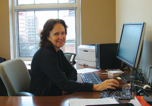 ASA Director of Programs Lynn Palmer is busy at work at the ASA office in Alexandria, Virginia.