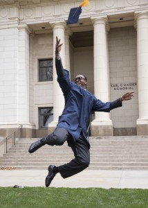 Ansah jumps for joy. [Photo Credit BYU Athletics]