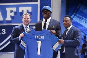 NFL commissioner Roger Goodell (left) and former Detroit Lions running back Barry Sanders (right) with Ezekiel Ansah [Photo Credit BYU Athletics]