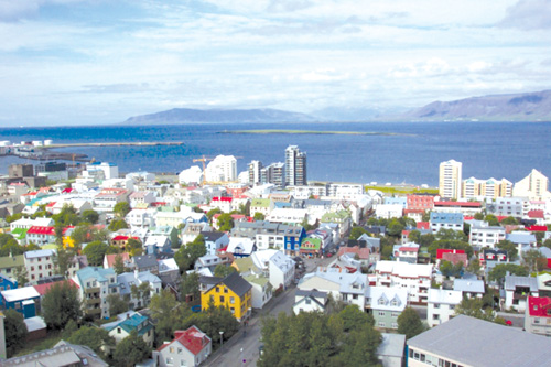 View of Reykjavik from the top of Hallgrímskirkja Church