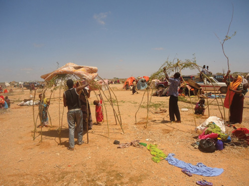 An IDP camp outside of Mogadishu, Somalia