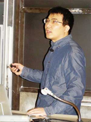 "Han Liu, Princeton University, delivers his talk, ""From High-Dimensional Data to Big Data."