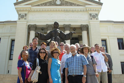 The delegation at the University of Havana with Luis Ramiro Pineiro, dean of the faculty of  mathematics and computer science (first row, far right)