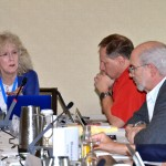 ASA Vice President Mary Mulry addresses the Board of Directors. From left: Jeffrey Myers (ASA Public Relations Coordinator), David Morganstein, and James Rosenberger
