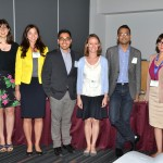 Invited panel for Post PhD: What to Expect in Your First Year? (from left) Chair Jennifer Sinnott, Harvard University; Organizer Layla Parast, RAND Corporation; Miguel Marino, Oregon Health and Science University; Jessica Minnier, Fred Hutchinson Cancer Research Center; Gourab De, Analysis Group Inc.; Violeta Hennessey, Amgen Inc.