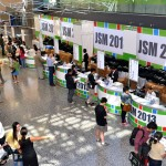 A view from above: The JSM registration desk at the Palais des congrès in Montréal, Québec, Canada.