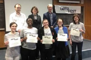 Smith College students (front row, from left) Dana Udwin, Michele Handy, Deirdre Fitzpatrick, Maja Milosavljevic, and Sara Stoudt show off their certificates for winning Best in Show/Best Visualization at the Five College DataFest. Also pictured (back row, from left) are Davit Khachatryan, Babson College assistant professor of statistics/analytics; Becky Sweger, director of data and technology for the National Priorities Project; and Jay Emerson, Yale University associate professor of statistics.