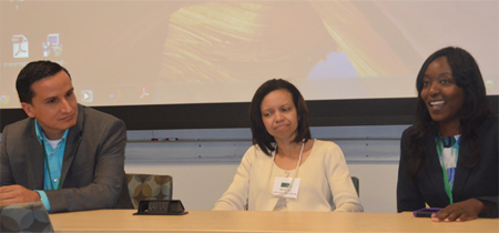 Pedro Torres-Saavedra, Kim Weems, and Kyndra Middleton serve as members of a panel. (Photograph by Donald Cole)