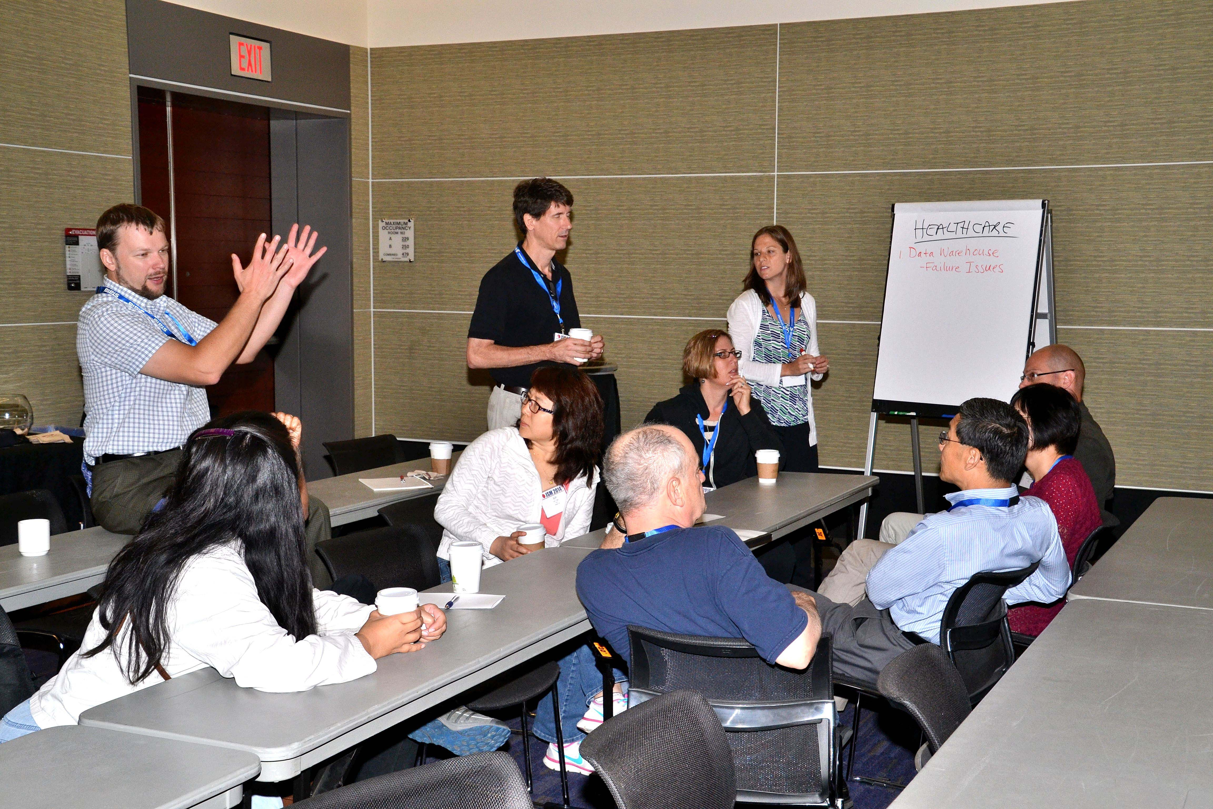 Breakout groups explore during Enhancing Big Data Projects Through Statistical Engineering, taught by Ronald Snee,  Richard D. De Veaux, and Roger Hoerl