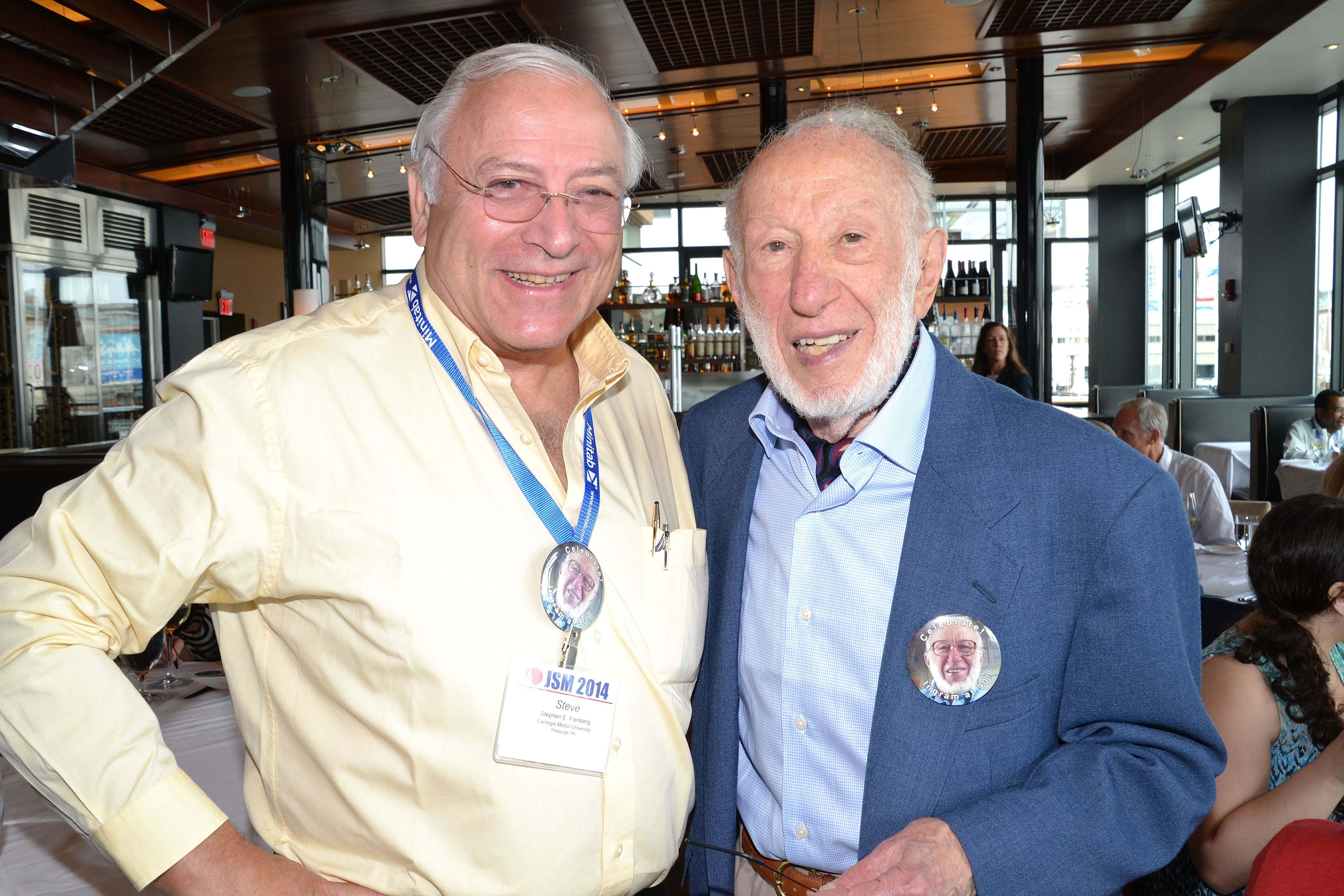 From left: Steve Fienberg and Ingram Olkin celebrate Olkin's 90th birthday