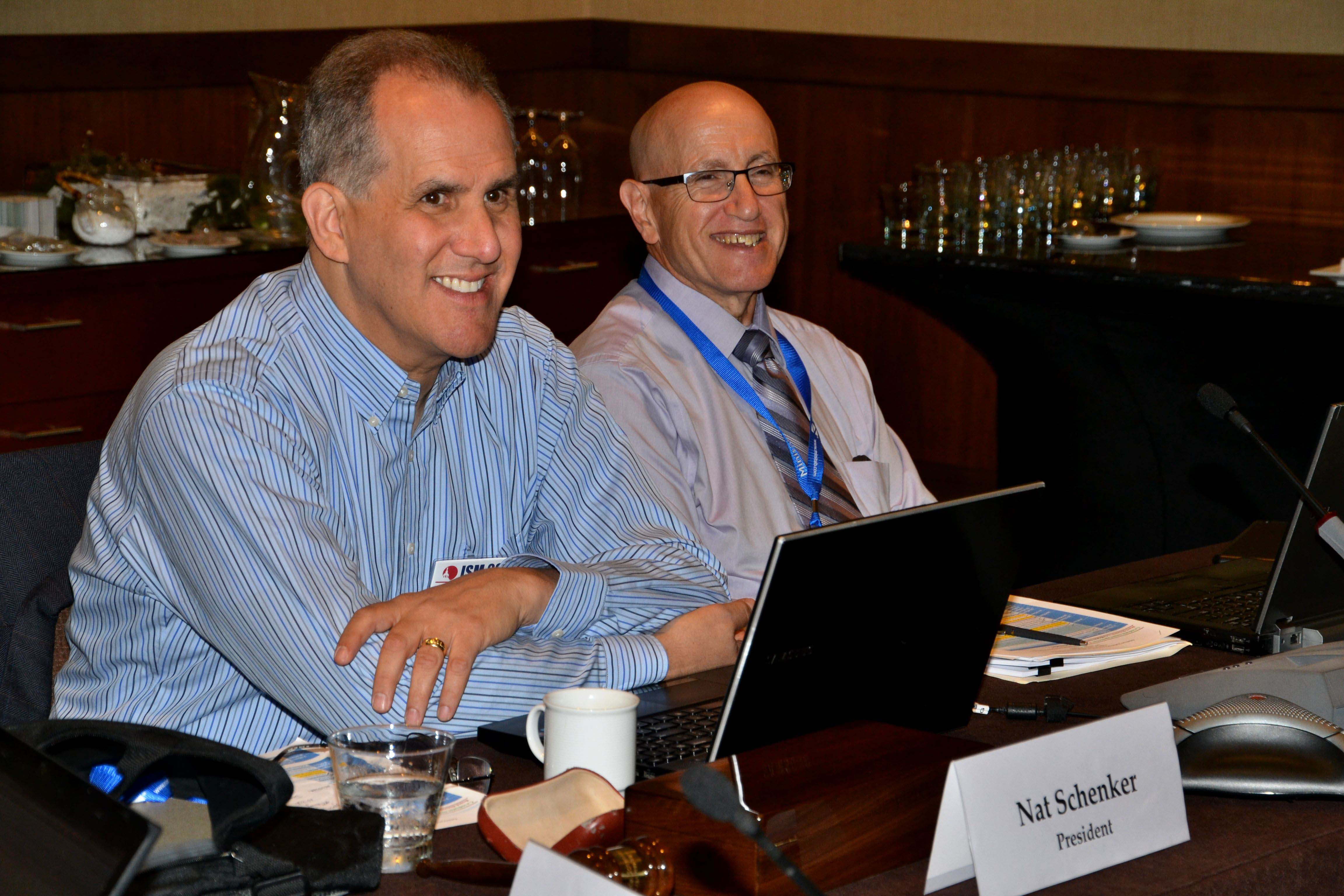 From left: ASA President Nathaniel Schenker and ASA Executive Director Ron Wasserstein enjoy the board meeting