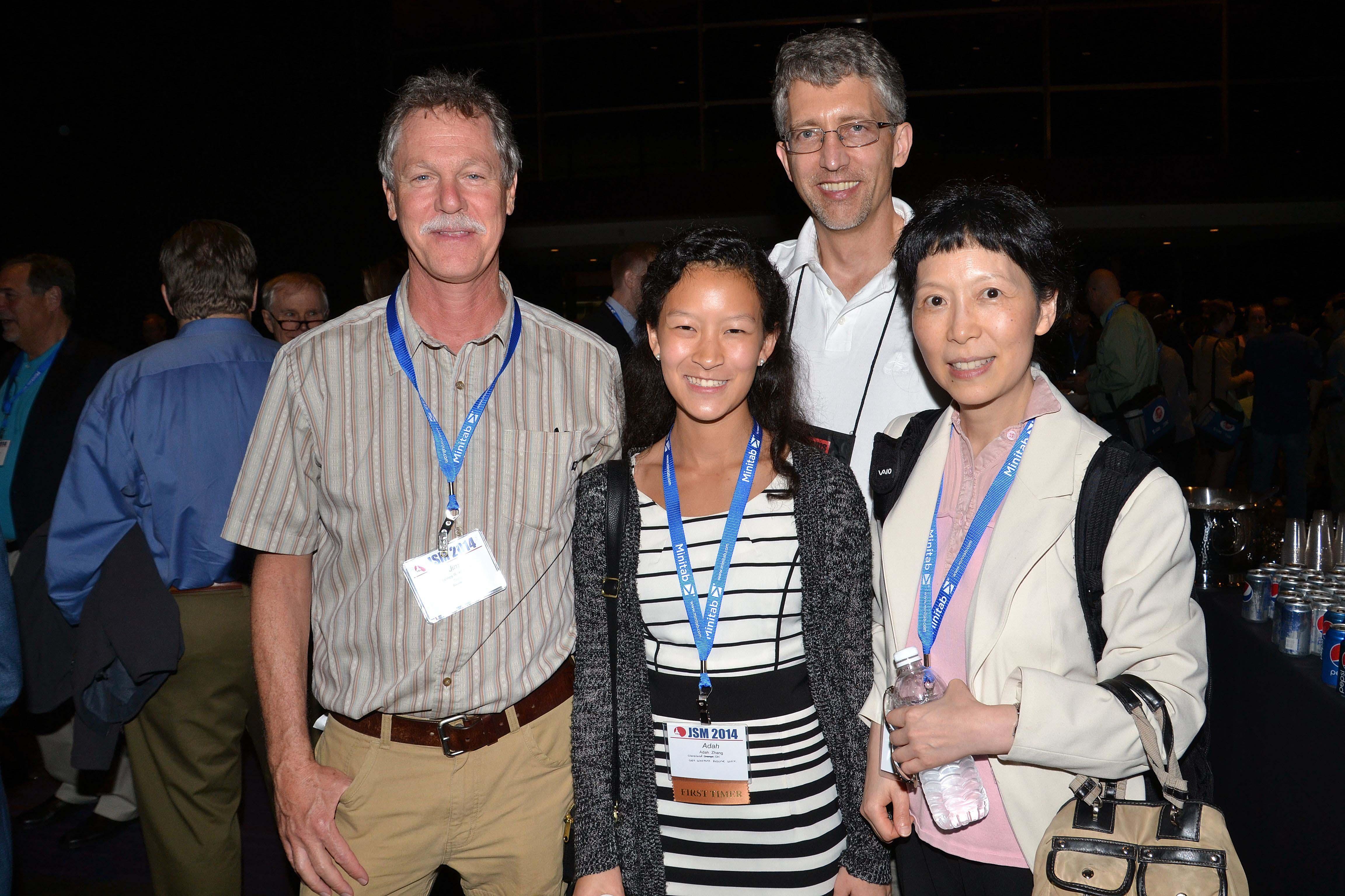 Jim Koehler, Tim Hesterberg, Adah Zhang, and Jiayang Sun mingle during the Opening Mixer