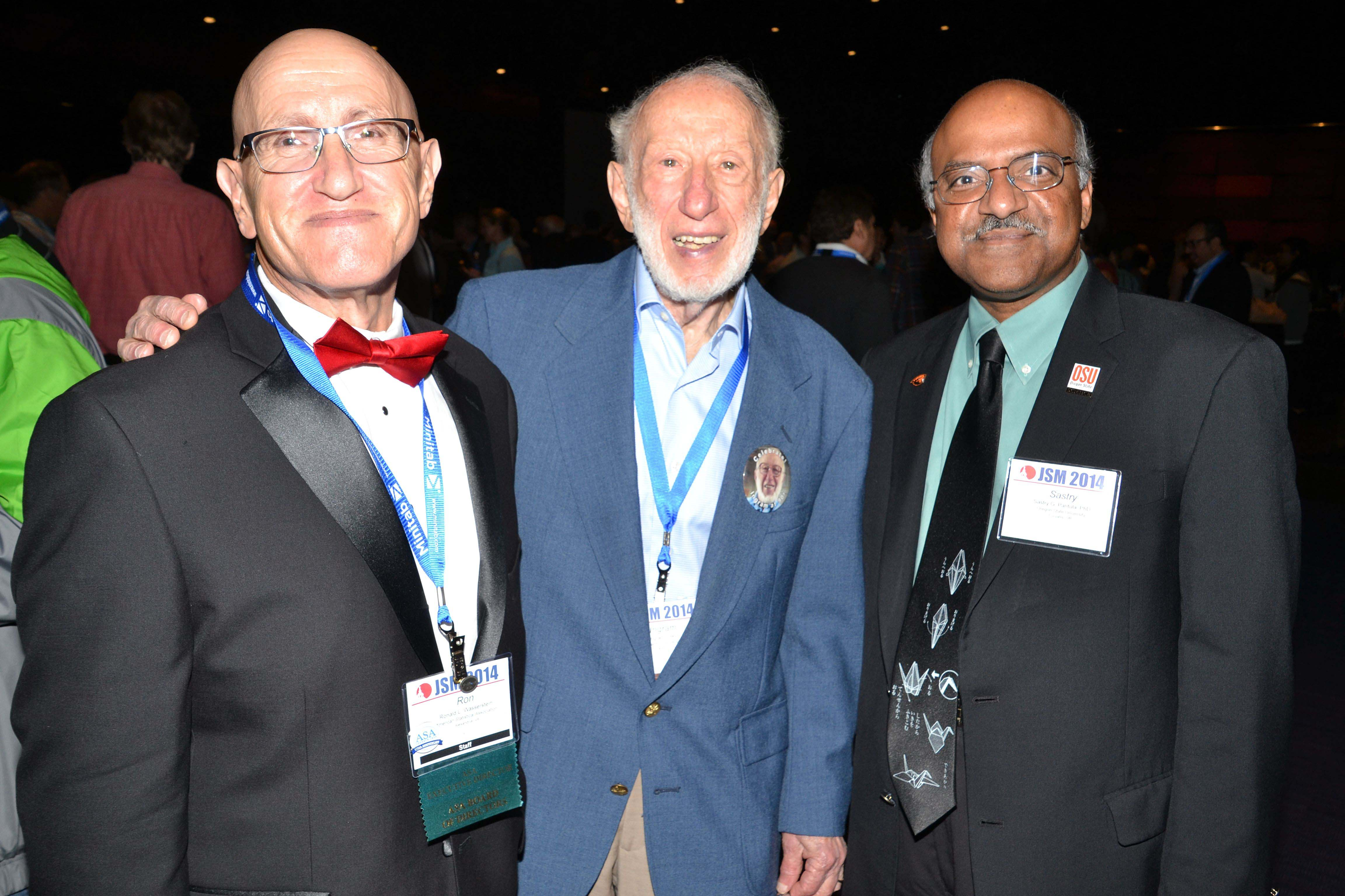 From left: Ron Wasserstein, Ingram Olkin, and Sastry Pantula attend the Opening Mixer