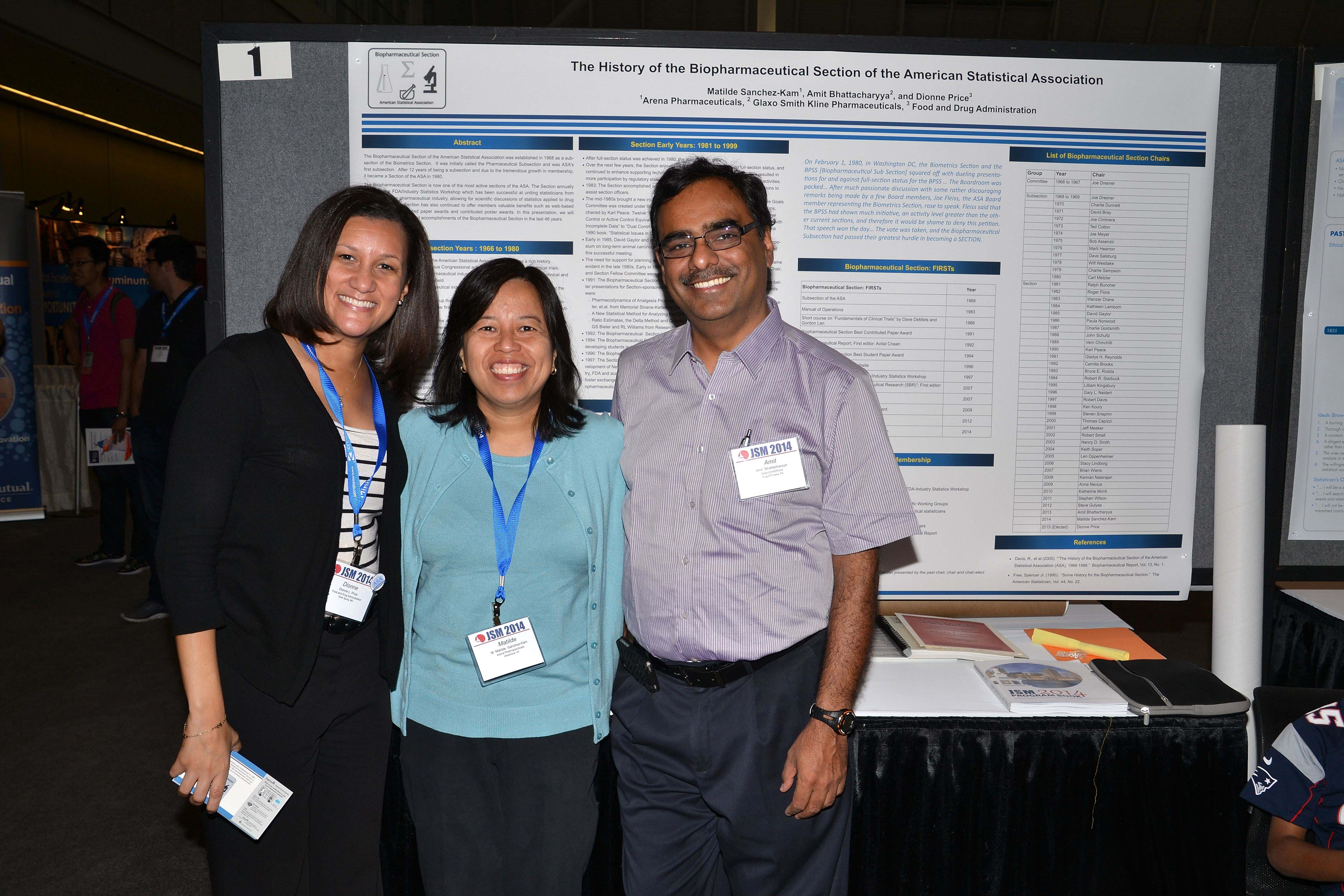 From left: Dionne Price, Maria Matilde Sanchez-Kam, and Amit Bhattacharyya present a poster about the history of the Biopharmaceutical Section