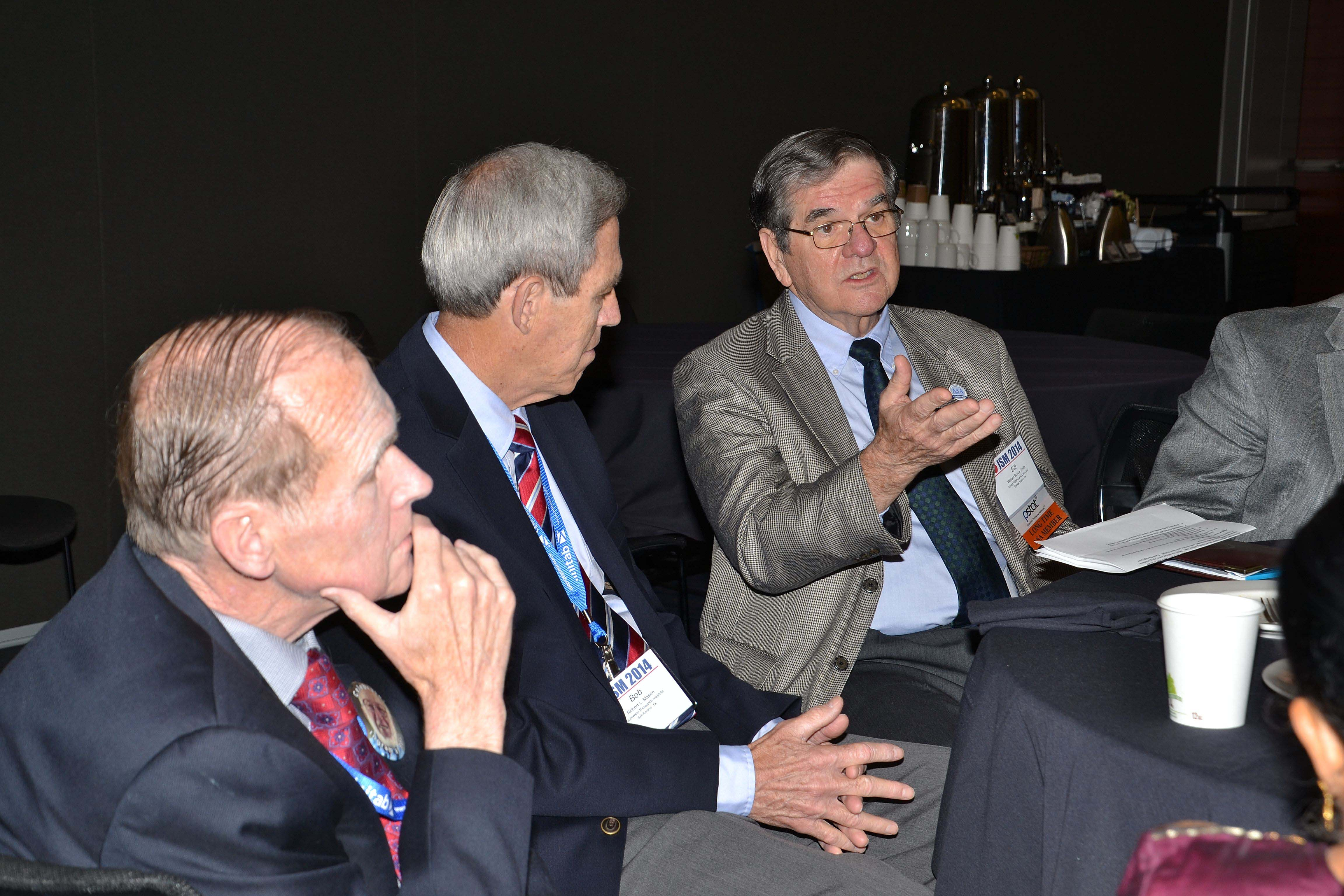From left: Fritz Scheuren, Bob Mason, and Bill Smith reminisce during a roundtable discussion