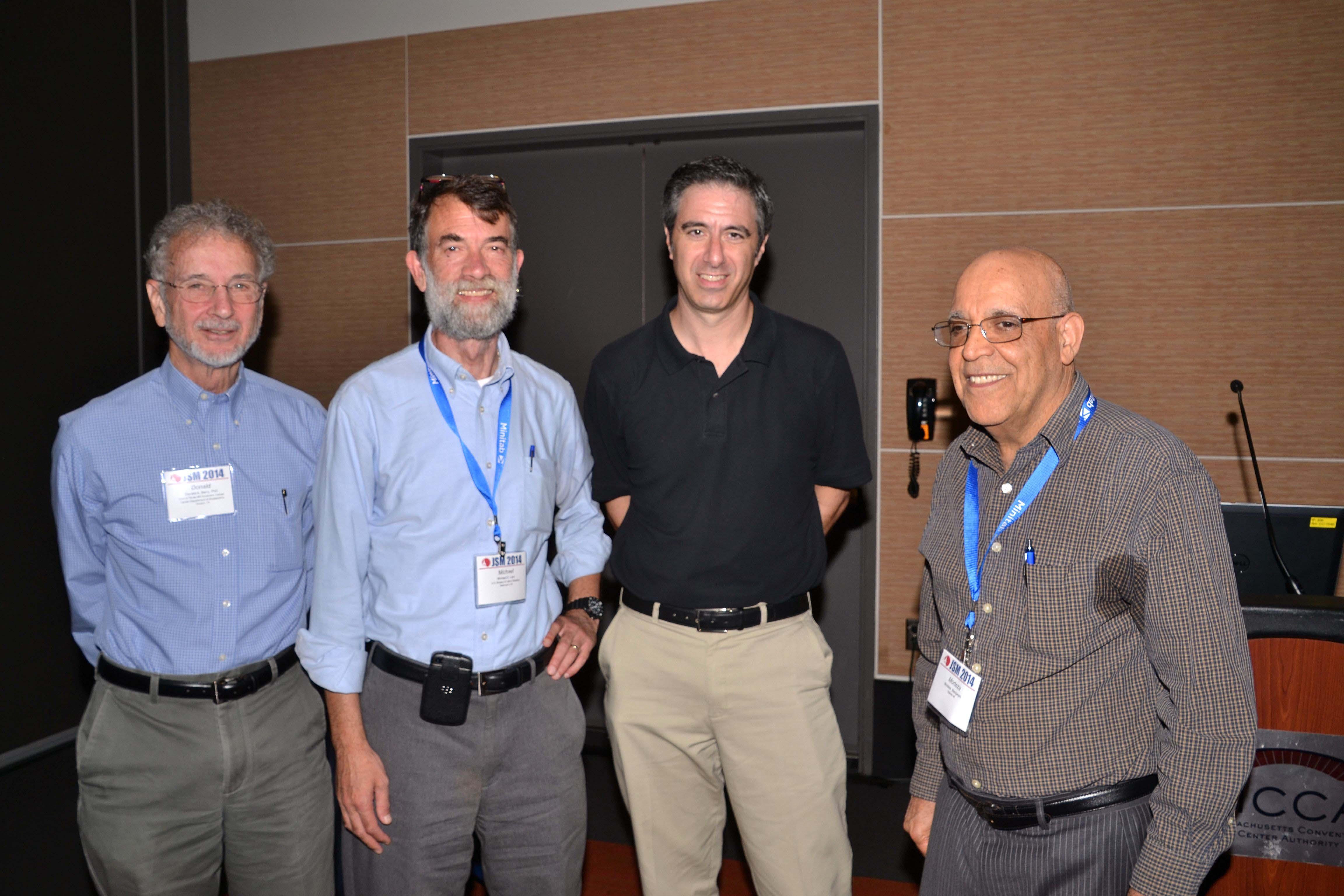 Statistics and the Media presenters (from left): Donald Berry, MD Anderson Cancer Center;  Michael Levi, Bureau of Labor Statistics; Alan Schwarz, New York Times; and Morteza Marzjarani (organizer)