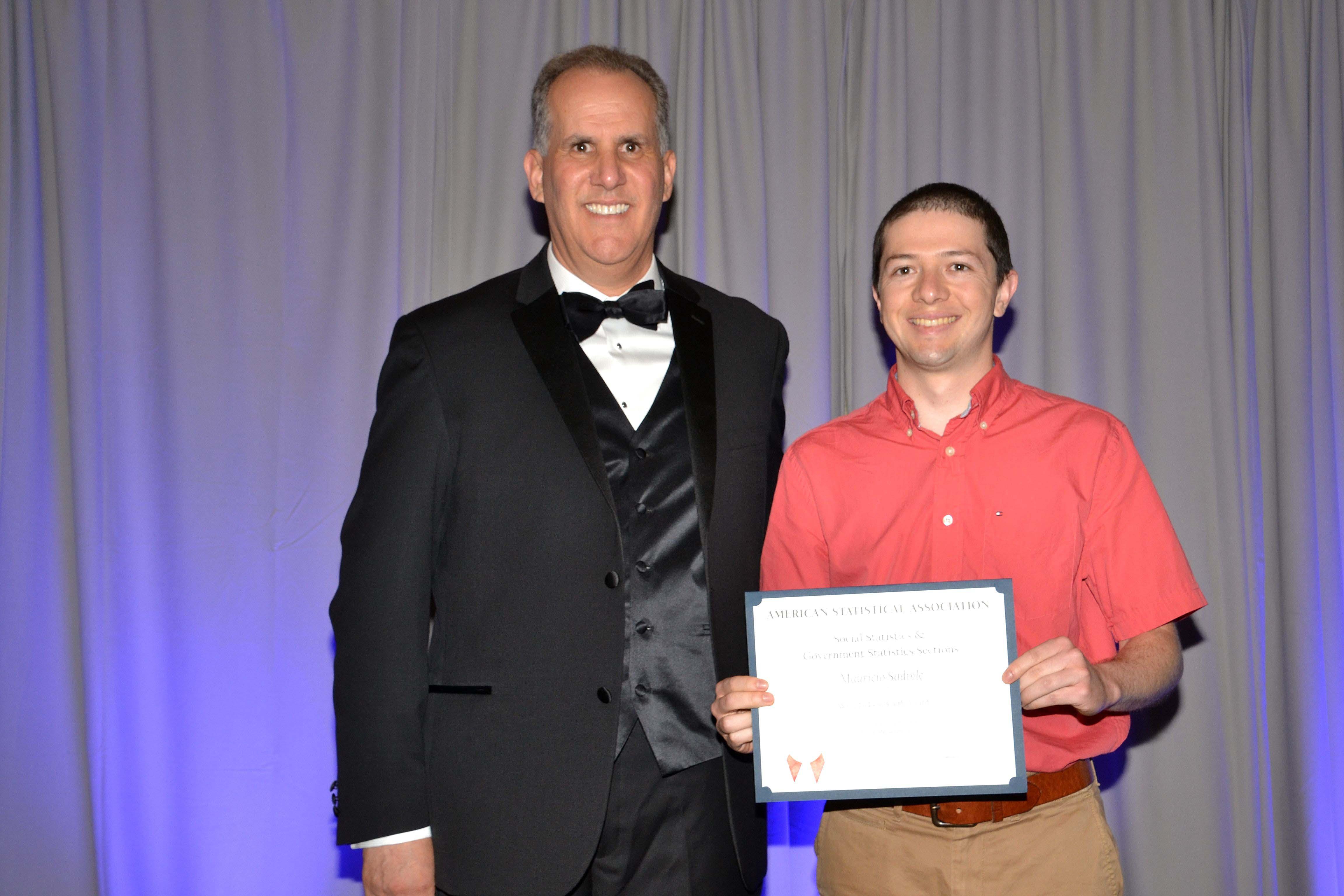 ASA President Nathaniel Schenker with Wray Jackson Smith Scholarship winner Mauricio Sadinle