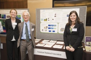 From left: SAMSI collaborator Jessi Cisewski of Carnegie Mellon University, SAMSI Director Richard Smith, and SAMSI postdoc Kimberly Kaufeld stand in front of the ASA's poster during the Capitol Hill Exhibition of the Coalition for National Science Funding.