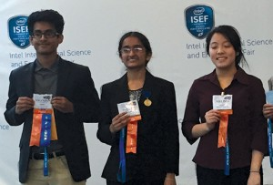 From left: Niranjan Balachandar, 18; Yashaswini Makaram, 17; and Melissa Amber Yu, 18, show off their ribbons at the 2015 Intel International Science and Engineering Fair, held in May in Pittsburgh, Pennsylvania.