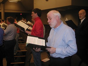 Rod Little sings at a University Musical Society Choral Union rehearsal.