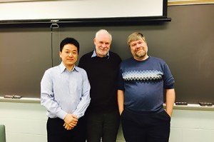 From left: Gong Tang, Rod Little, and Michael R. Elliot at the UM Department of Biostatistics in 2015
