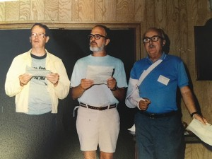 "(Stu) Hunter, (Bill) Hunter, and (George) Box at the Gordon Conference singing ""There's no theorem like Bayes theorem."" Here are more pictures from this event c"