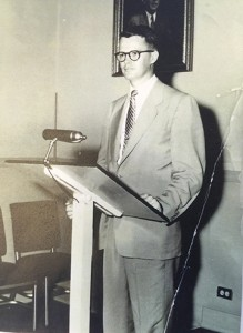 Hunter, giving a lecture in 1957