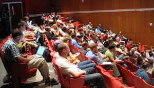 Attendees pack the auditorium to listen to Brian Macdonald of the Florida Panthers.