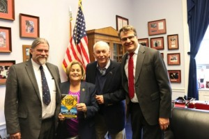 Photo by Emanuel Saavedra. Leonard Smith, Rep. Ileana Ros-Lehtinen (R-FL), Robert Corell, and Steve Pierson met to discuss climate science research and climate change impacts in February.