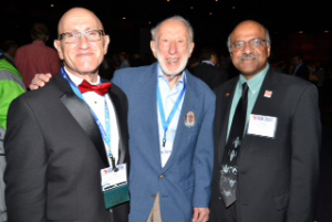 ASA Executive Director Ron Wasserstein attends the JSM 2014 Opening Mixer with Ingram Olkin and Sastry Pantula.