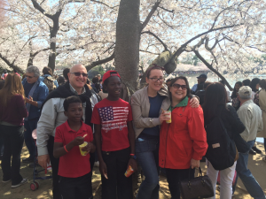 Members of the Wasserstein family (from left: Ron, Peterson, Abner, Rose, and Sherry) enjoy a day at the Tidal Basin in Washington, DC, during the 2016 blooming of the cherry trees.