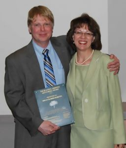 Jeanne E. Griffith 2013 Mentoring Award Winner Brian Harris-Kojetin and his nominator, Shelly Martinez