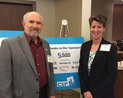 Former ASA presidents David Morganstein and Sally Morton attend CSP 2016.