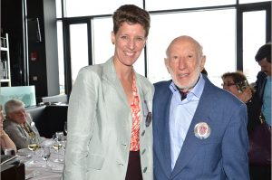 Sally Morton with Ingram Olkin at his 90th birthday party during JSM 2014 in Boston