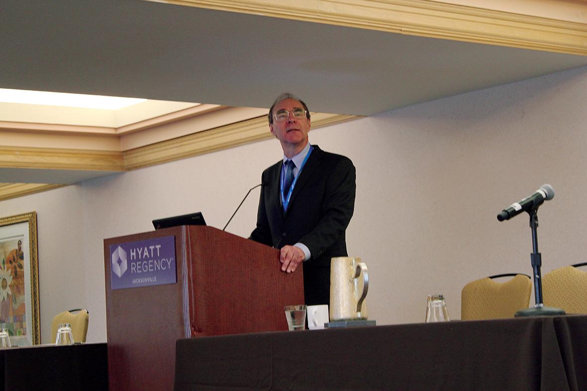 David Banks gives the keynote address.