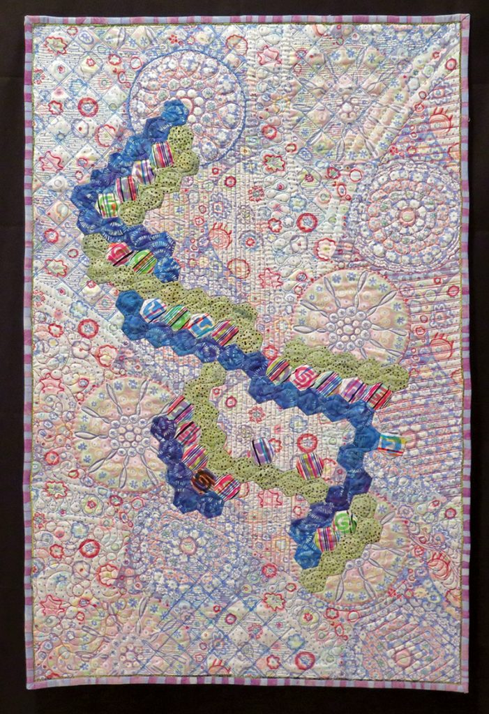 Susan Hilsenbeck included a DNA molecule applique in this quilt she designed.